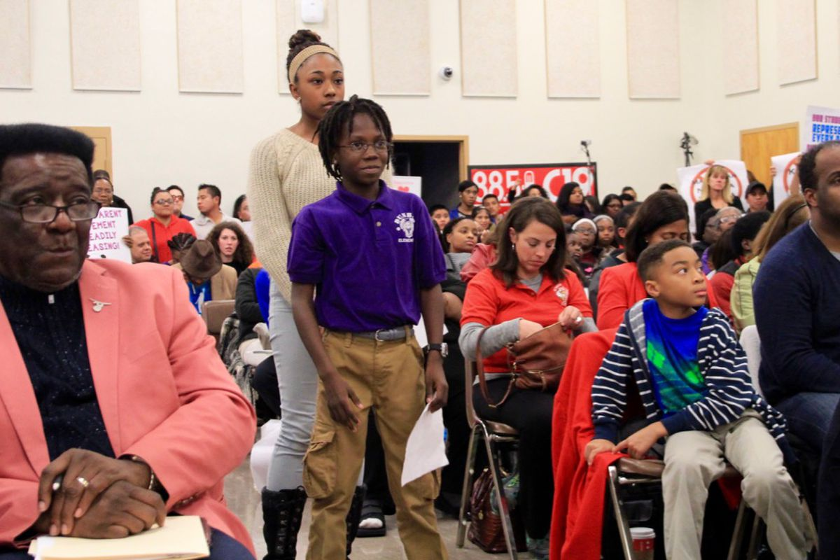 Dunbar Elementary School student Khamaria McElroy stands in line to speak to Shelby County's school board about why her school should stay open.