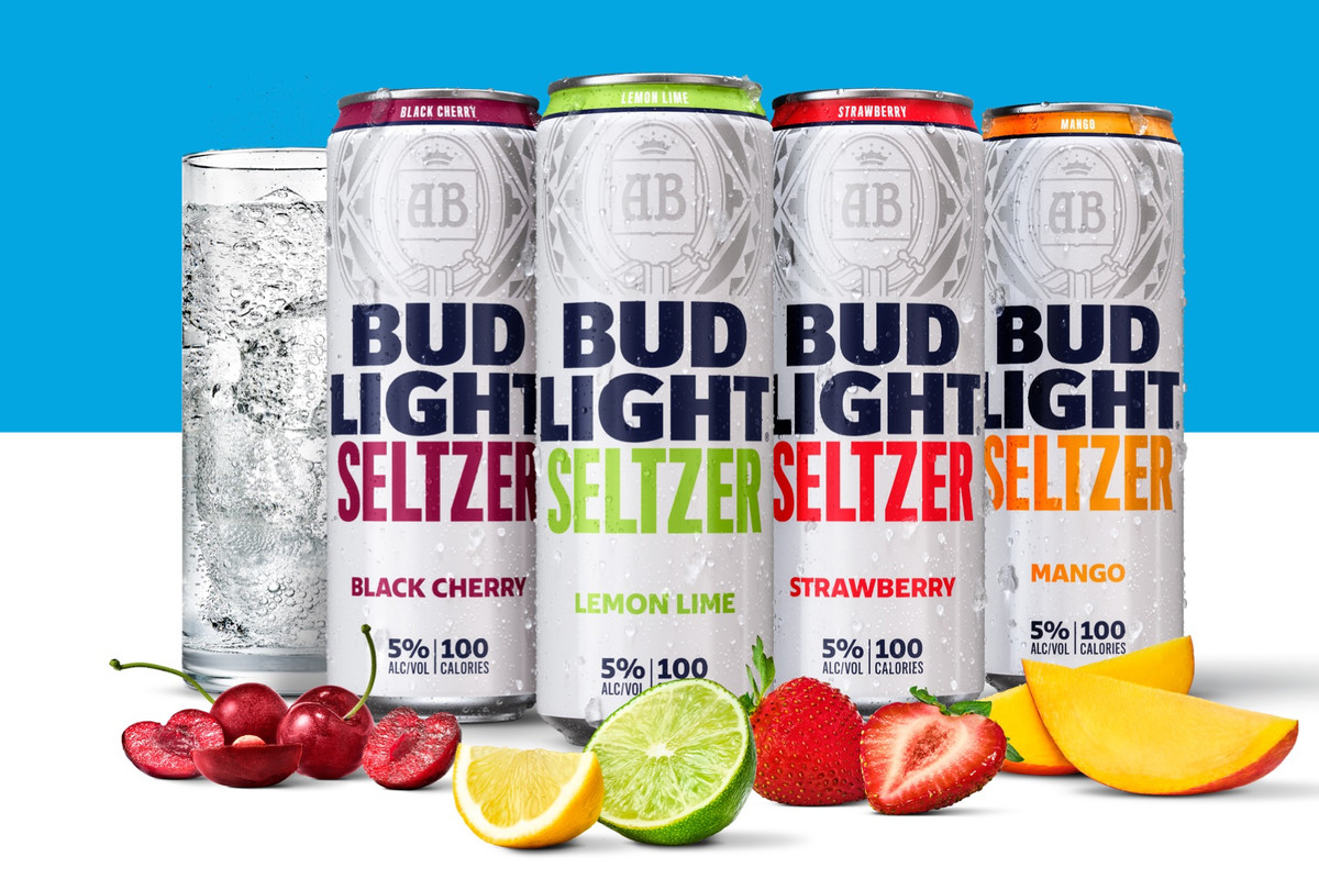 Five cans of Bud Light Seltzer surrounded by fruit on a background of white and blue.