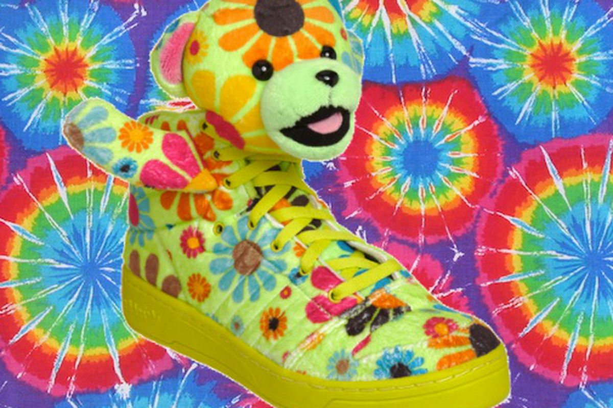 Jeremy Scott x Adidas is like if the members of Greatful Dead all spawned together and had Beanie Babies as shoe babies