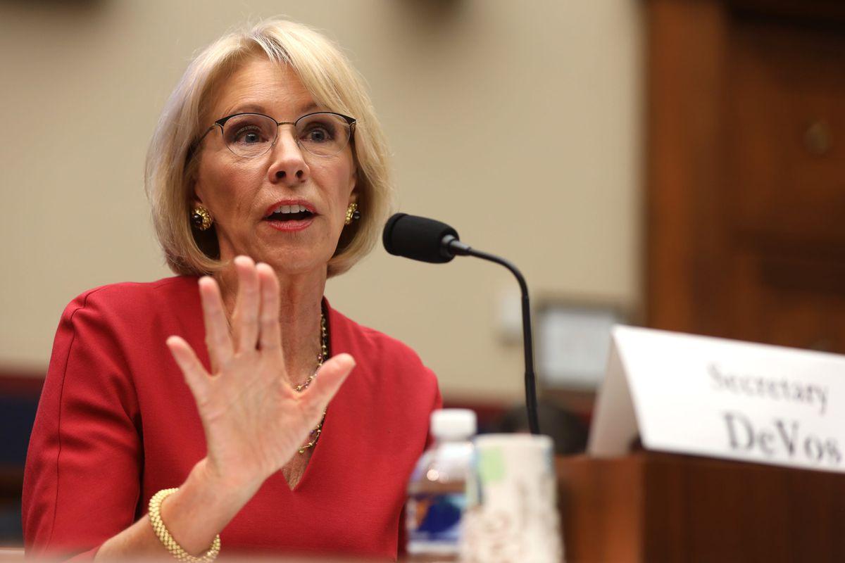 Education Secretary Betsy DeVos testifies during a Senate hearing in December 2019.