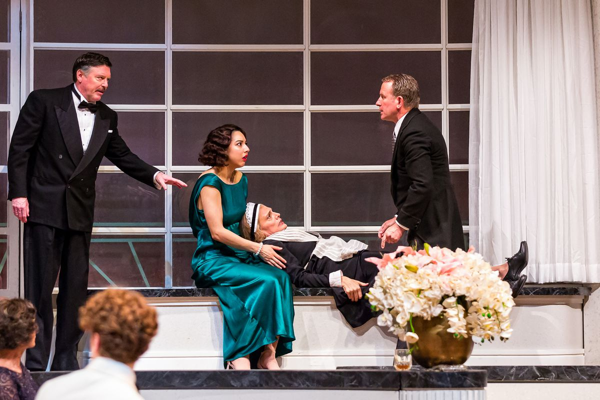 "David Kortemeier (from left), Cher Alvarez, Jennifer Engstrom and Paul Tavianini in ""And Then There Were None"" at Drury Lane Theatre."