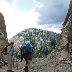 14. At the Honeycomb chairlift, hikers walk south through the pass toward the Brighton area.
