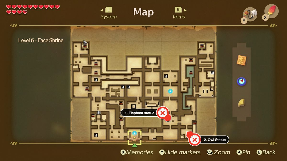 Link's Awakening Face Shrine path to the right