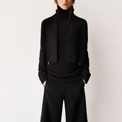 Cashmere long turtleneck sweater, $129.90; lambswool cropped cardigan, $49.90; gaucho cashmere blended pants, $59.90