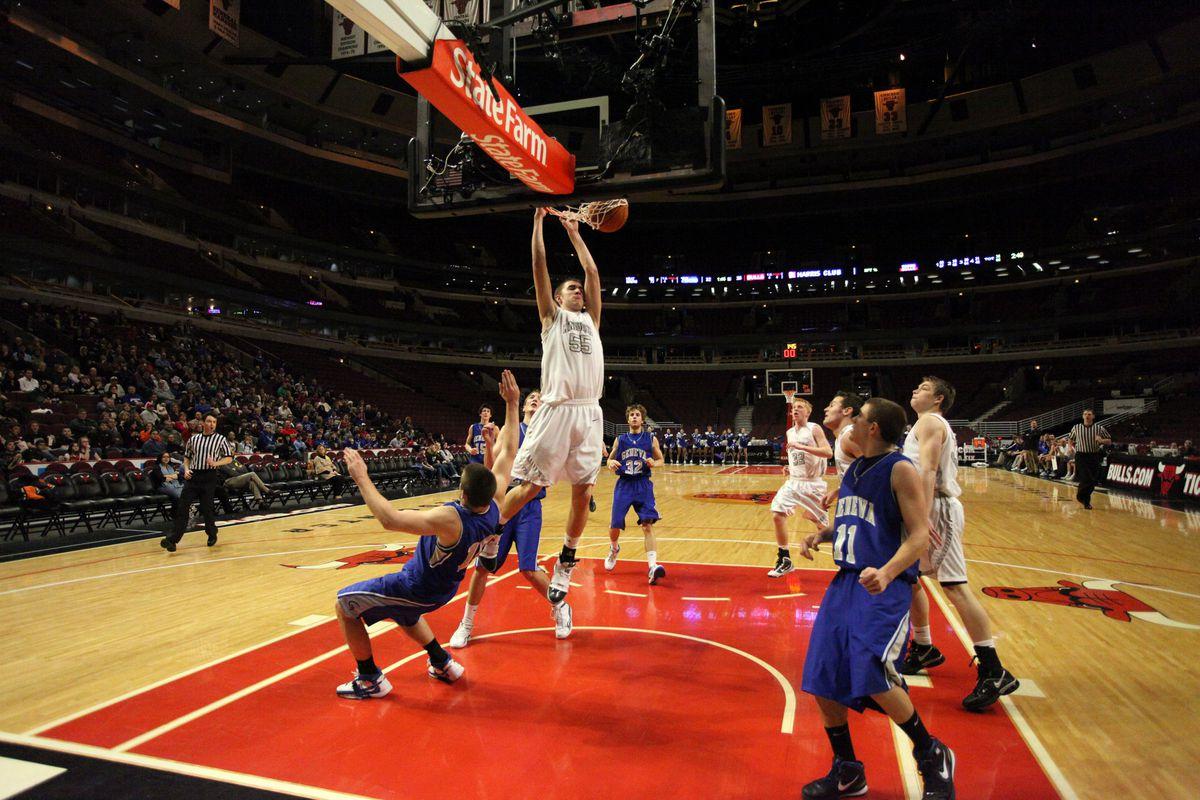 Kaneland big man Dave Dudzinski dunks against Geneva at the United Center.