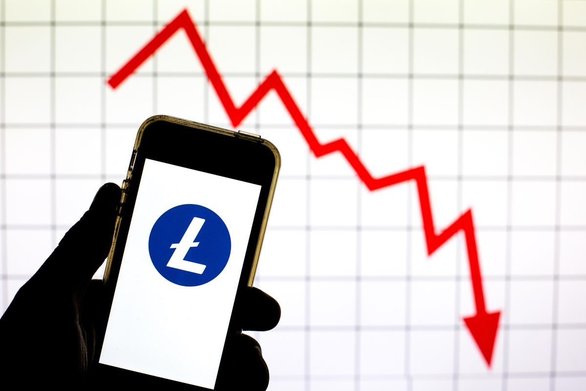 In this photo illustration a Litecoin cryptocurrency logo is...