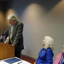 Robert Huefner, former holder of the Scott M. Matheson Endowed Chair in Health Care Studies, University of Utah, speaks as the Utah Citizens' Counsel announces its 2014 Assessment of Utah's Policy Progress in Salt Lake City, Wednesday, Dec. 10, 2014.
