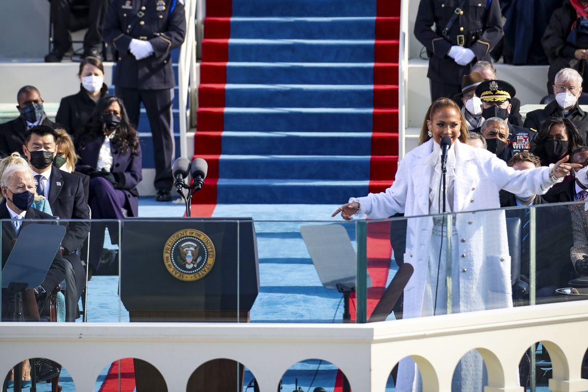 Jennifer Lopez sings at the inauguration.
