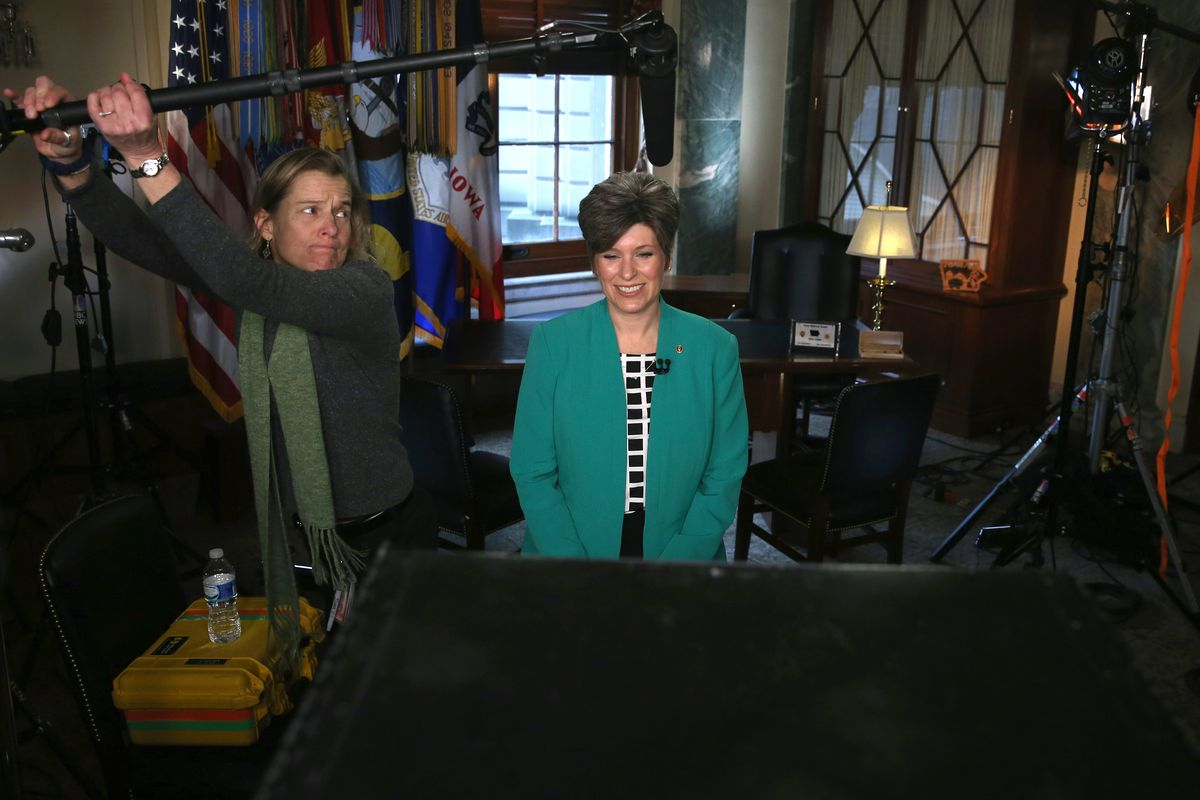 Joni Ernst practices her response to the State of the Union.