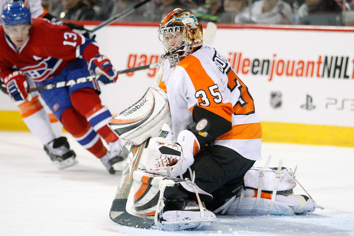 MONTREAL - NOVEMBER 16:  Sergei Bobrovsky #35 of the Philadelphia Flyers stops the puck during the NHL game against the Montreal Canadiens at the Bell Centre on November 16 2010 in Montreal Quebec Canada.  (Photo by Richard Wolowicz/Getty Images)