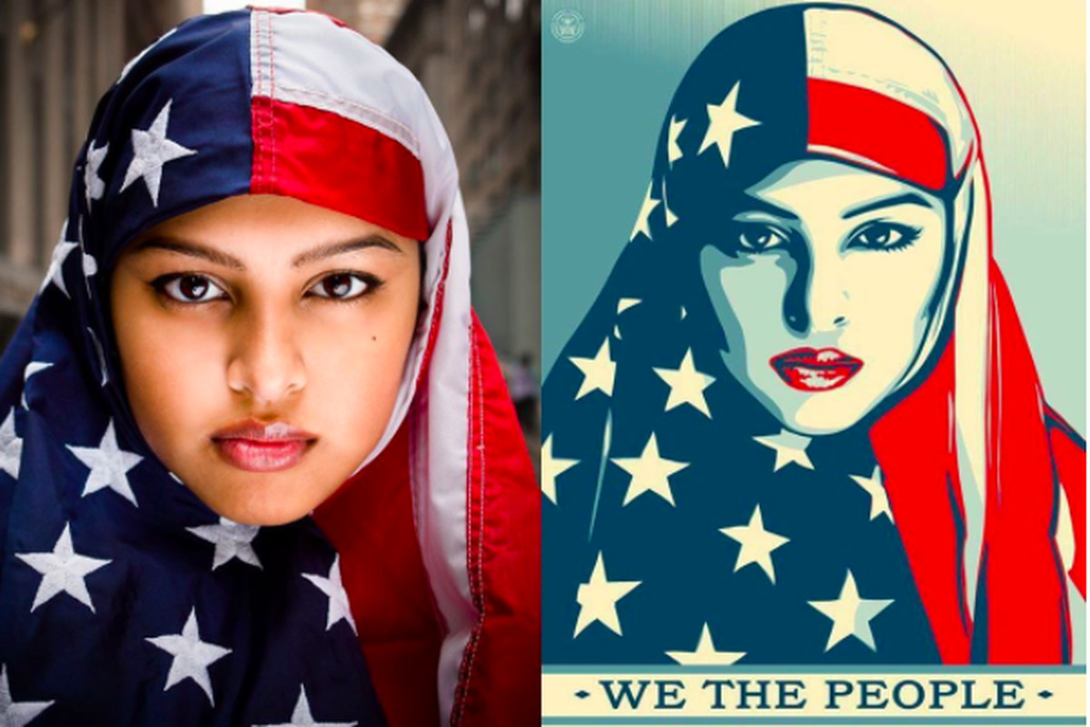 Meet the muslim woman whos become the face of anti trump ahmed in the original photo on the left and shepard faireys adaptation ridwan adhami shepard fairey biocorpaavc