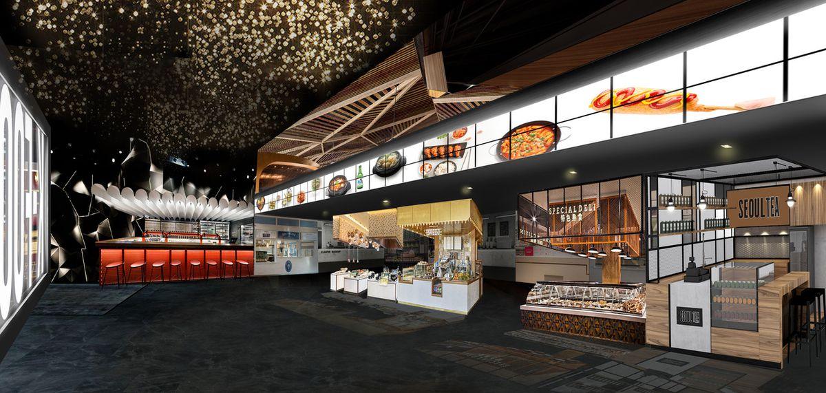 A rendering of an indoor food market
