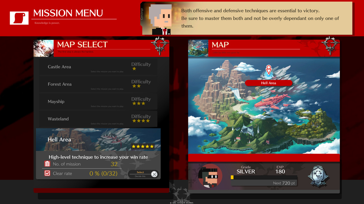 The mission menu in Guilty Gear Strive
