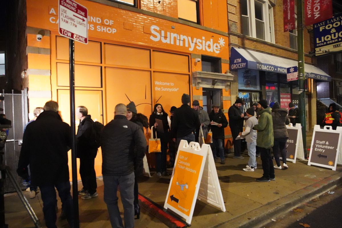 People lined up early Jan. 1 before Sunnyside opened in Lake View for the first day of legal sales of recreational marijuana.