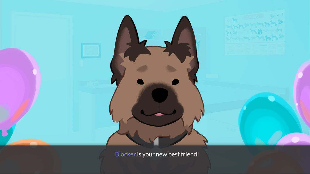blocker, a brown and black dog with ears that stand up straight