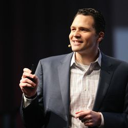 Ben Bennett, vice president of Find my Past speaks at RootsTech at the Salt Palace in Salt Lake City on Friday, Feb. 10, 2017.