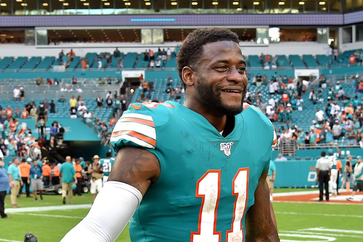 Miami Dolphins wide receiver DeVante Parker reacts after a game against the Philadelphia Eagles at Hard Rock Stadium.