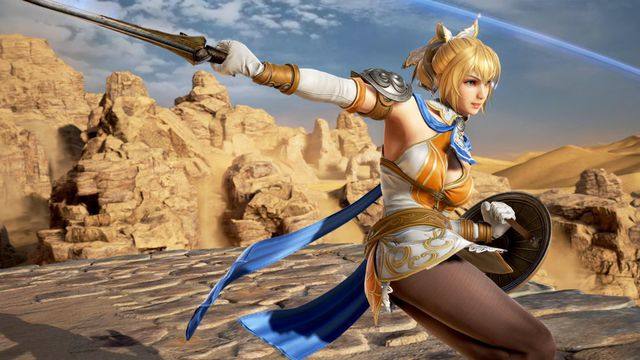 Greek warrior Cassandra swings her sword to her right in a screenshot from Soulcalibur 6