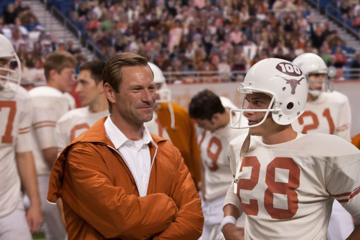 """The actors portraying Darrell Royal (left) and Freddie Steinmark in """"My All American"""""""