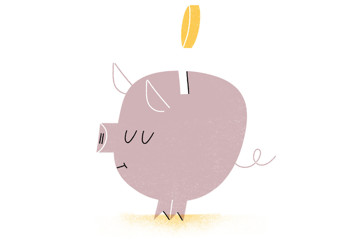 Illustration of a coin going into a piggy bank