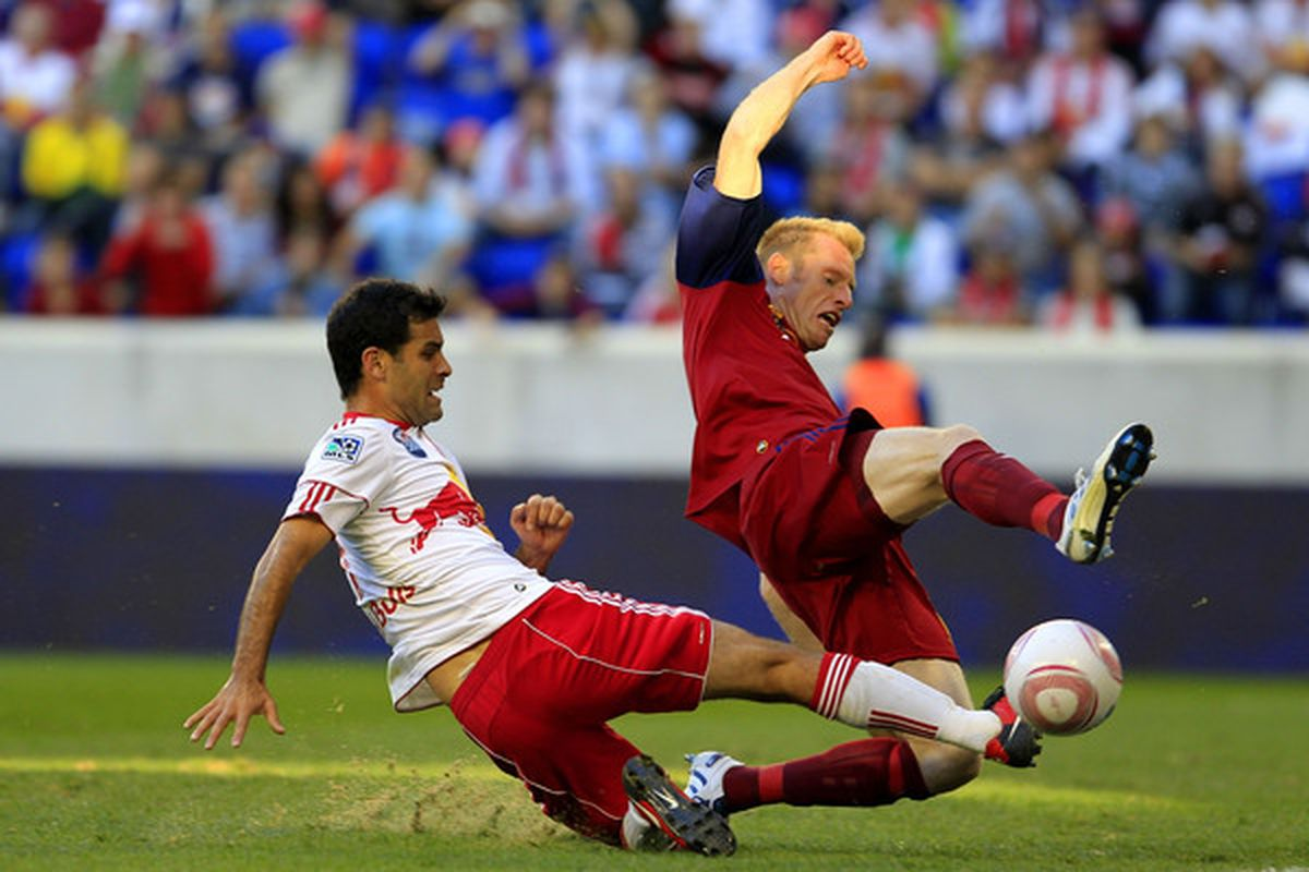 Rafael Marquez, left, of the New York Red Bulls battles for the ball with Nat Borchers of Real Salt Lake at Red Bull Arena on October 9, 2010 in Harrison, New Jersey. The Red Bulls tied Real Salt Lake 0-0.  (Photo by Chris Trotman/Getty Images)