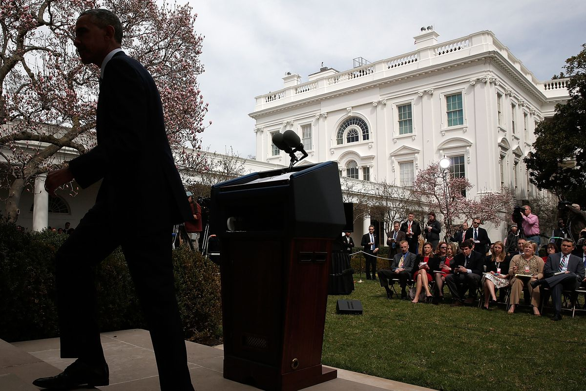President Obama speaks to the press on April 2 discussing the framework nuclear terms with Iran.