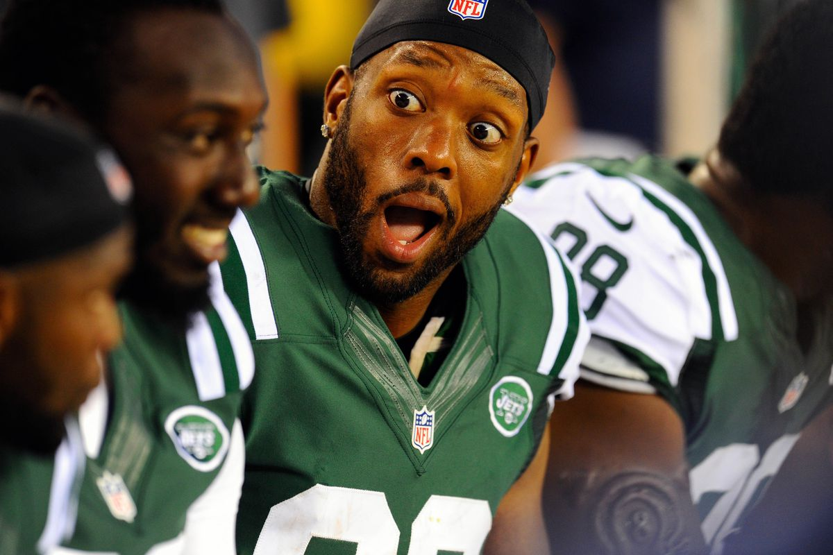 """DE Jay Richardson, prior to being cut from the New York Jets, demonstrates his sheer disbelief at predictions that WR Stevie Johnson """"owns"""" Revis Island."""