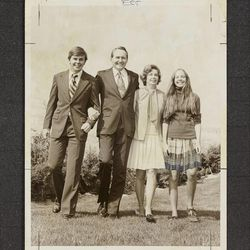 Elder L. Tom Perry is shown with his wife, Virginia, and two of their children in 1972.