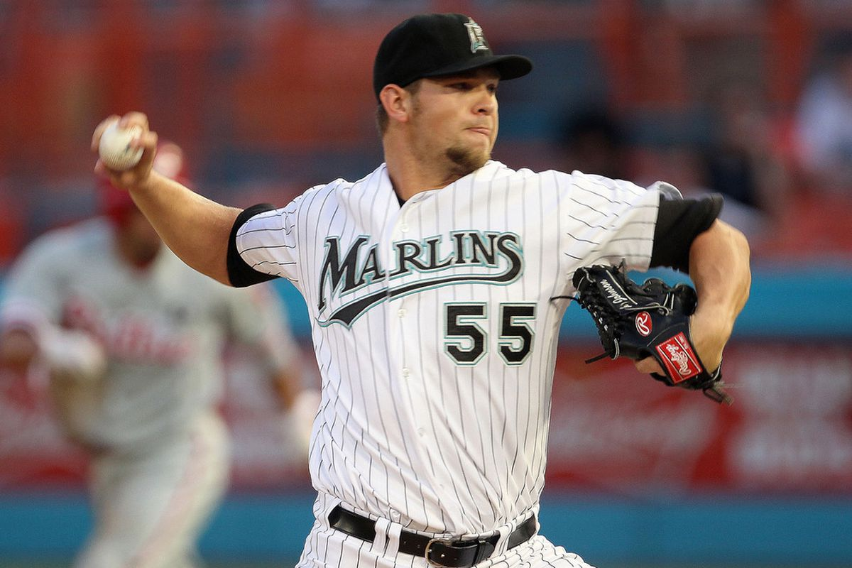 MIAMI GARDENS, FL - MAY 10:  Josh Johnson #55 of the Florida Marlins pitches during a game against the Philadelphia Phillies at Sun Life Stadium on May 10, 2011 in Miami Gardens, Florida.  (Photo by Mike Ehrmann/Getty Images)
