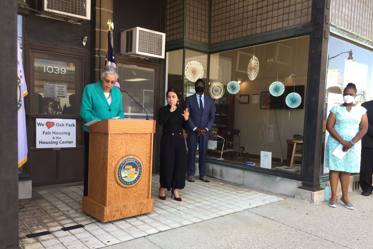 Cook County President Toni Preckwinkle announces a rental assistance program aimed at helping residents struggling with the COVID-19 pandemic. She made the announcement Friday outside of the Oak Park Regional Housing Center.