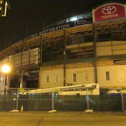 5:52 p.m. The Addison Street side of the front of the ballpark -