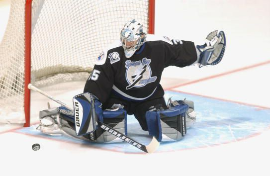 Nikolai Khabibulin was one of the reasons the Lightning became Cup contenders. (Courtesy of Dave Sandford/Getty Images)
