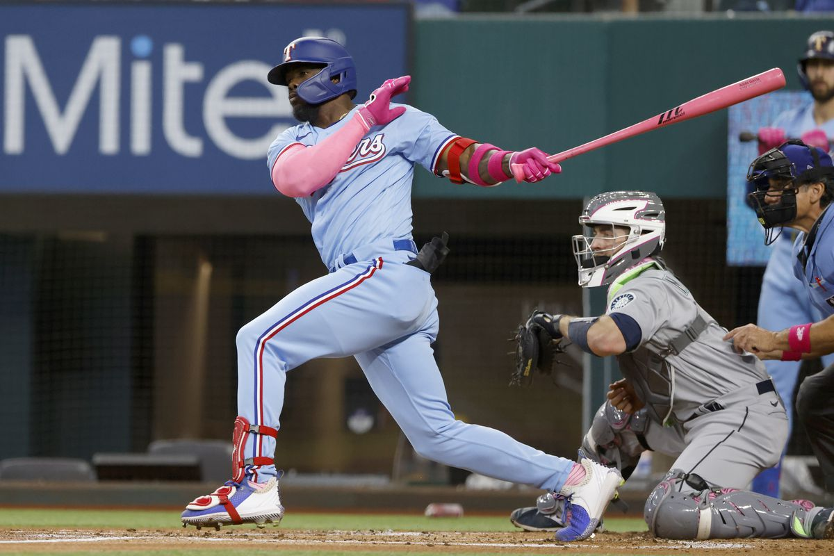 Adolis Garcia #53 of the Texas Rangers at bat against the Seattle Mariners at Globe Life Field on May 9, 2021 in Arlington, Texas.
