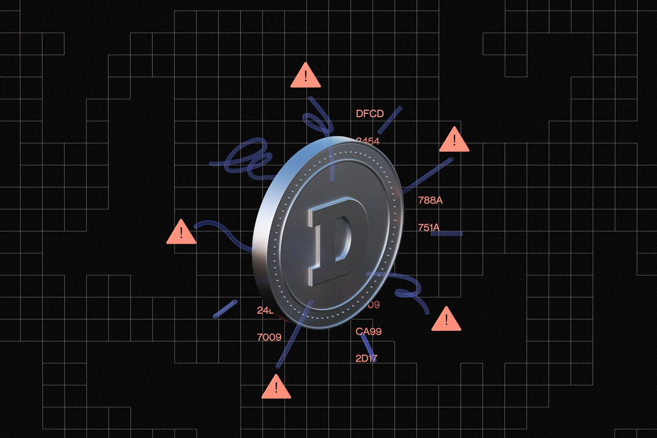 An illustrated Dogecoin surrounded by warning signs.