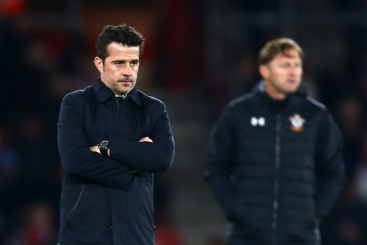 Southampton take on Everton in the Premier League today photo of Saints manager Ralph Hasenhuttl and Toffees boss Marco Silva
