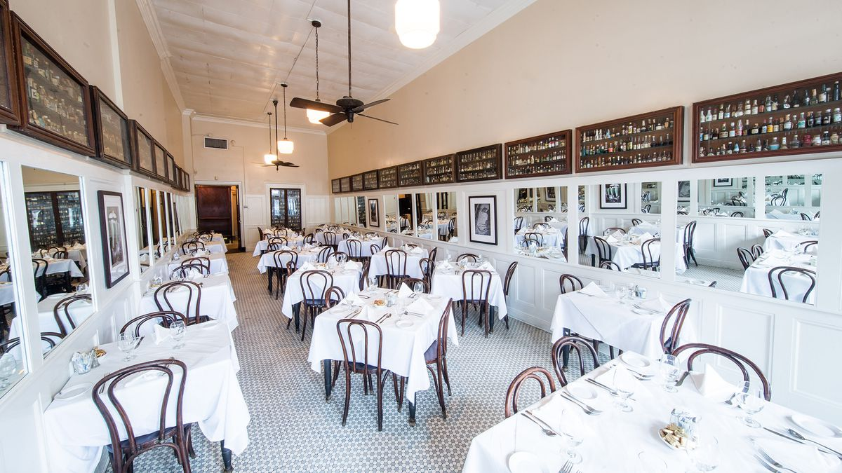 The dining room at Tujague's.