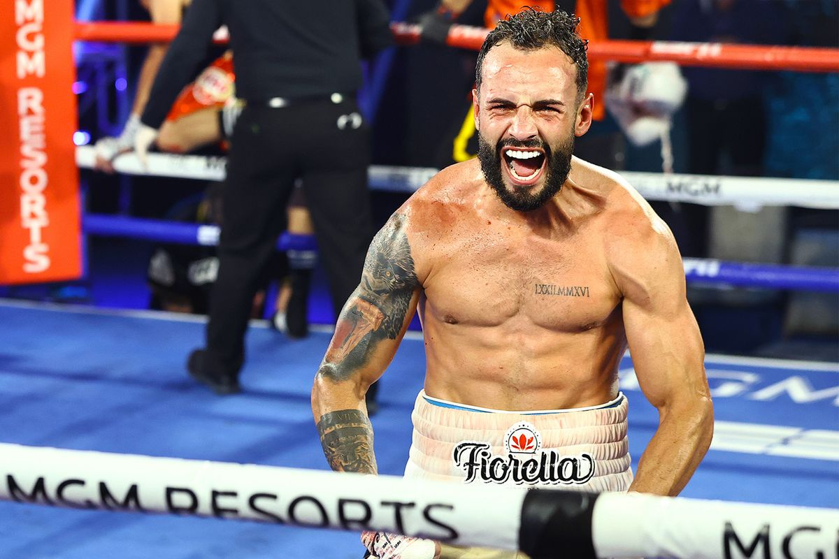 In this handout image provided by Top Rank, Christopher Diaz celebrates after defeating Jason Sanchez (not pictured) in their featherweight bout at MGM Grand Conference Center Grand Ballroom on June 23, 2020 in Las Vegas, Nevada.
