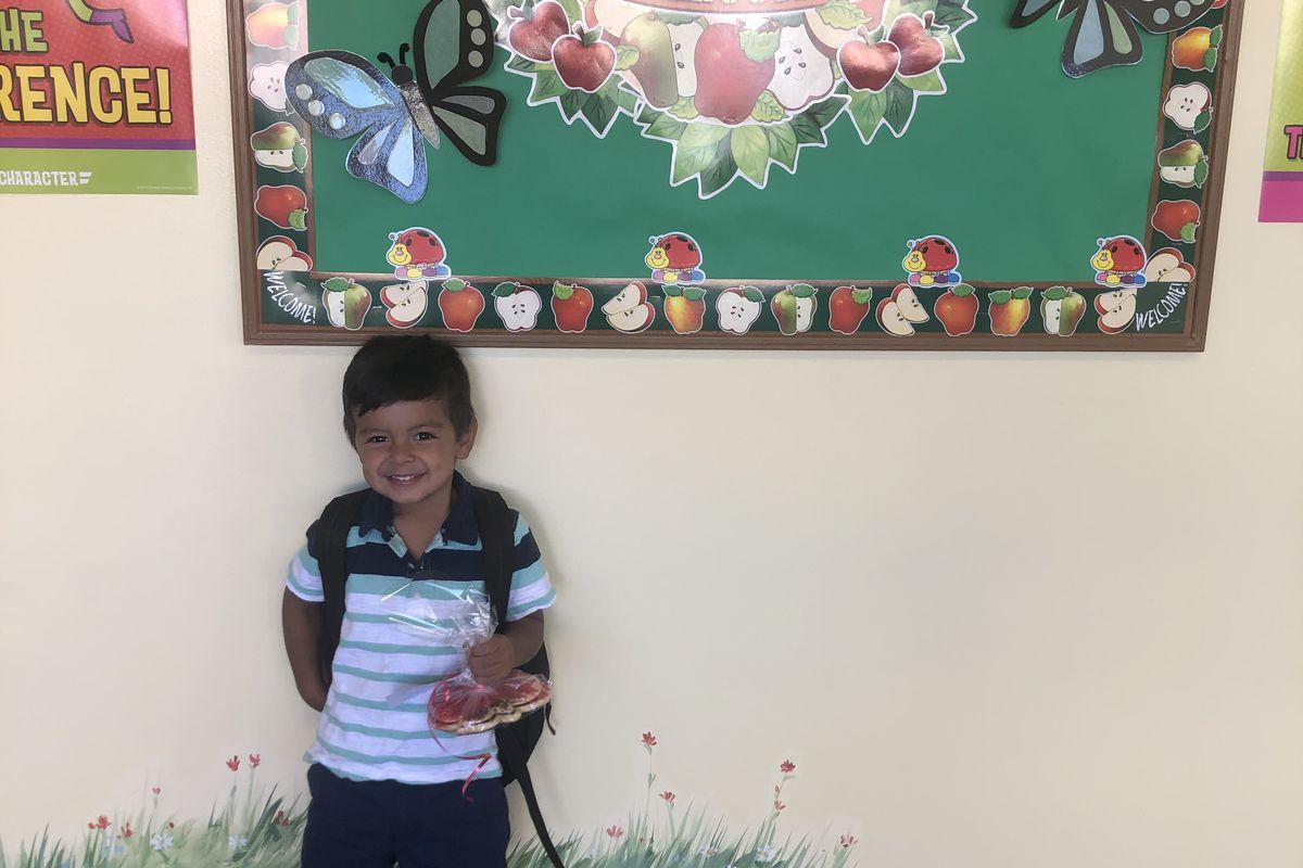 Erin Stewart's son on his first day of preschool in August 2019.