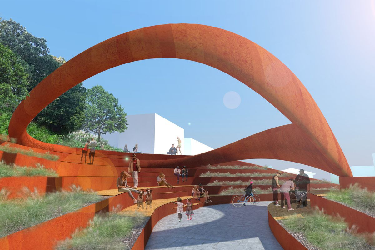 A rendering of the orange tiered performance area that was once slated to sit next to the Beltline.