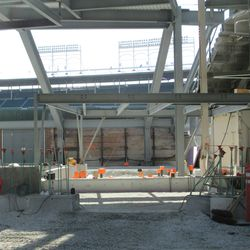 3:58 p.m. Another view of the new structure in right center field -