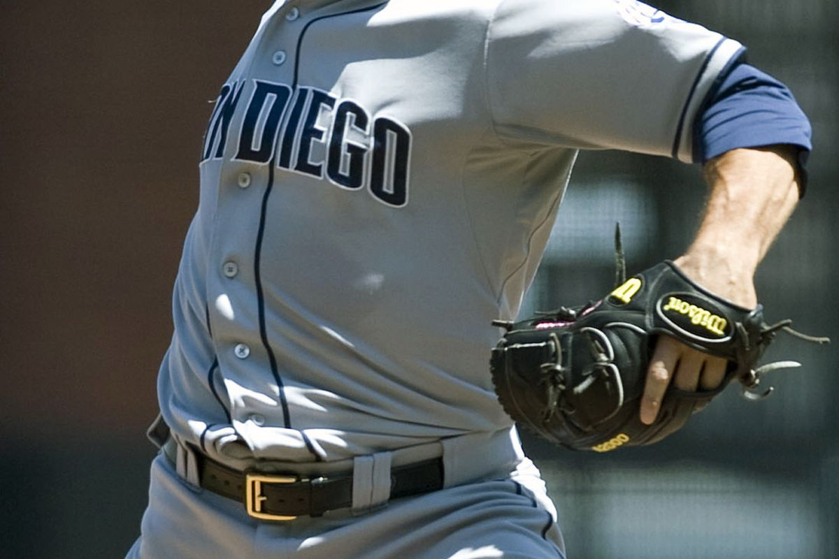July 25, 2012; San Francisco, CA, USA; San Diego Padres starting pitcher Jason Marquis (38) pitches against the San Francisco Giants during the seventh inning at AT&T Park.  Mandatory Credit: Ed Szczepanski-US PRESSWIRE