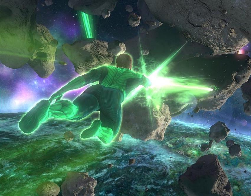 Green Lantern flies forward while shooting in space