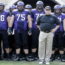 TCU head coach Gary Patterson stands with his team before an NCAA college football game against  Southeastern Louisiana Saturday, Sept. 7, 2013, in Fort Worth, Texas. TCU 38-17.  (AP Photo/LM Otero)