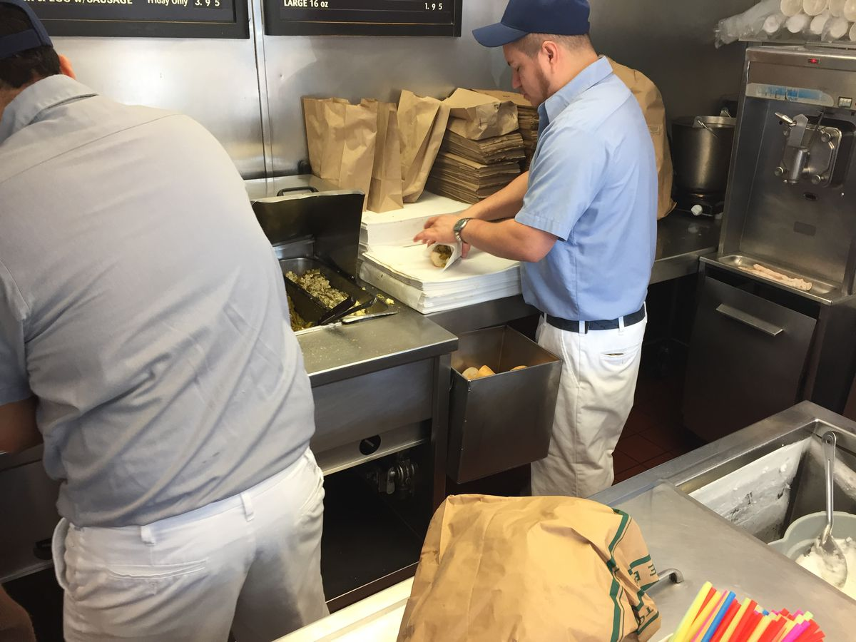 The crew at Johnnie's Beef in Elmwood Park serves up pepper and egg sandwiches every Friday, but gets more takers during Lent. Photo by Mark Brown.
