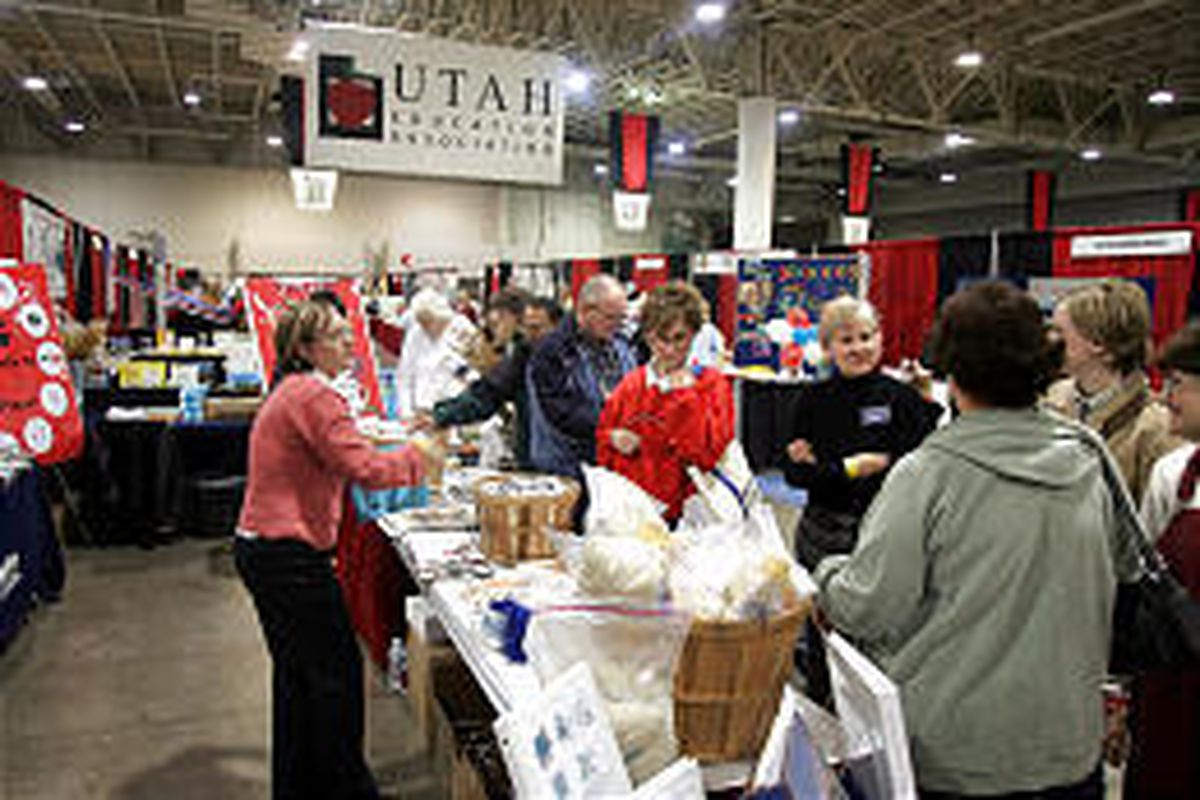 Educators register at the UEA convention in Salt Lake City Thursday. The convention continues today.