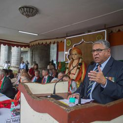 Former Chief Air Marshal P.V. Naik speaks during the 71st Independence Day celebrations at the MIT World Peace University in Pune, Maharashtra, India, on August 15, 2017. 7.