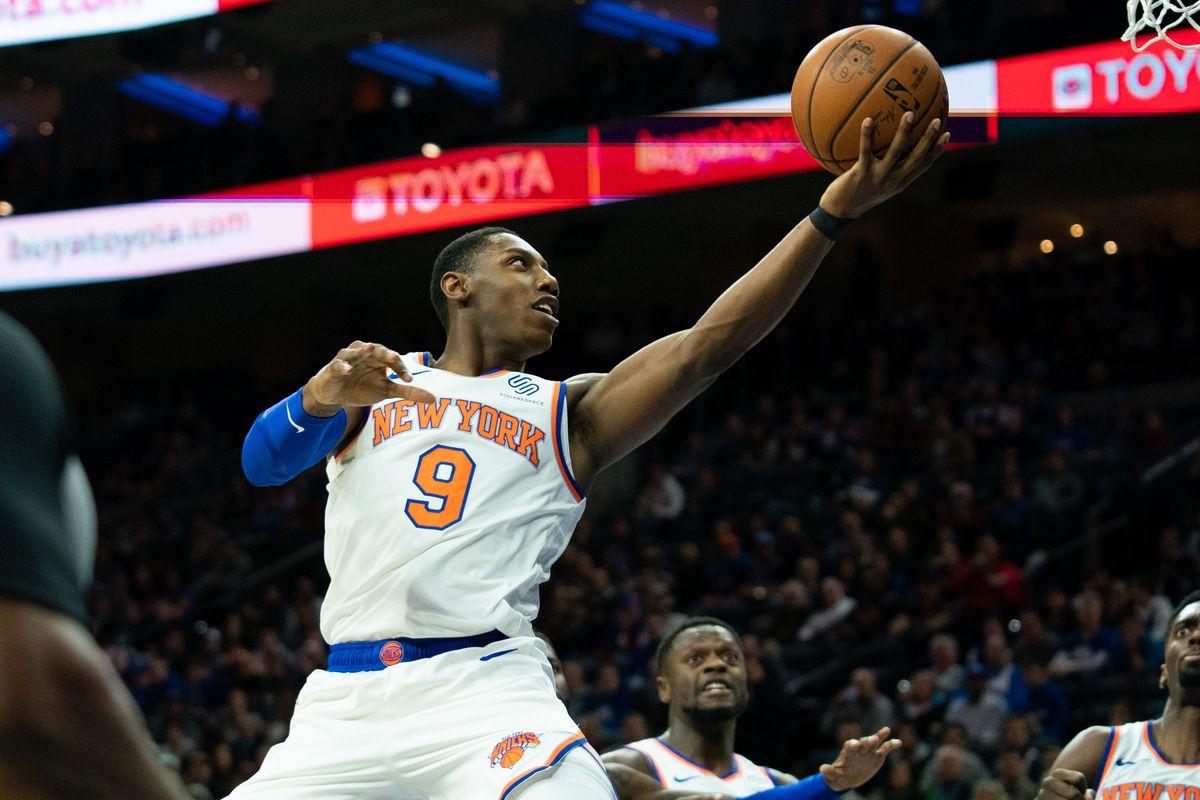 New York Knicks forward RJ Barrett drives for a score against the Philadelphia 76ers during the first quarter at Wells Fargo Center.