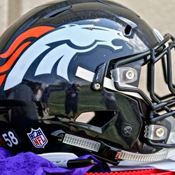Broncos OLB Von Miller set his helmet down right next to me, so I took a picture of it.