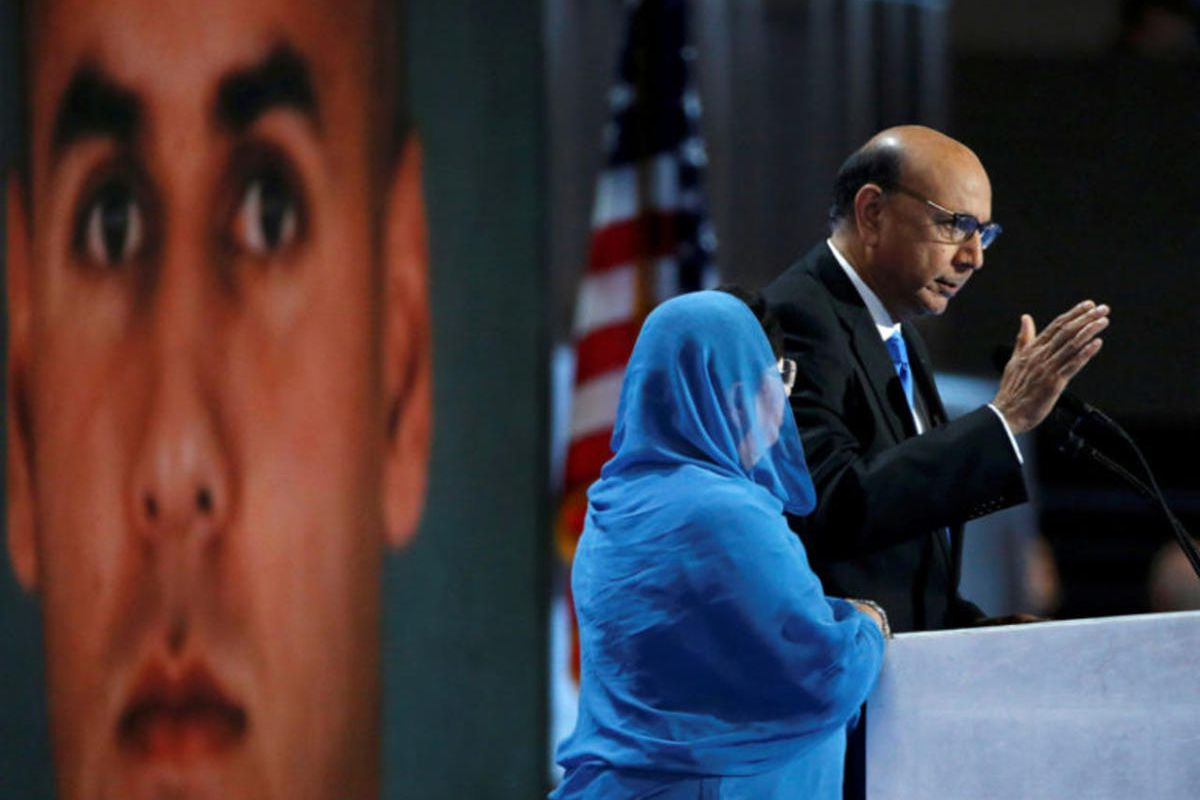 Khizr Khan, who's son Humayun (L) was killed serving in the U.S. Army, speaks at the Democratic National Convention in Philadelphia, Pennsylvania, U.S. July 28, 2016.
