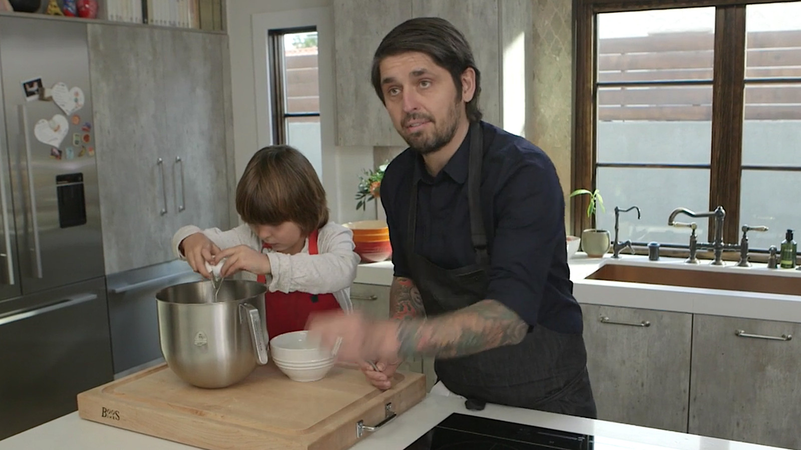 Watch chef Ludo Lefebvre make crepes at home with his hilarious kid